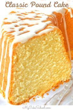 Perfect Pound Cake Recipe, Classic Pound Cake Recipe, Vanilla Pound Cake Recipe, Classic Cake, Pound Cake Recipes, Easy Cake Recipes, Moist Vanilla Cake, Potluck Recipes, Cupcake Recipes