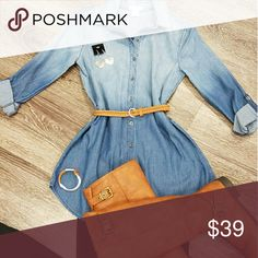 Denim shirt Ombre denim shirt wear it with or without belt. Button down. Tops Button Down Shirts
