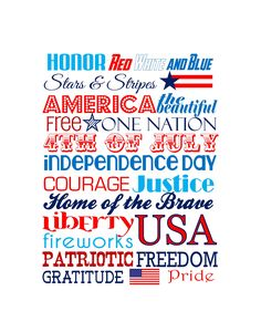 FREE PRINTABLE. 4th of July Subway Art patriotic printable