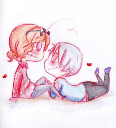 2p Canada and Gilbert :3 Though I don't ship them together,because Gil belongs to Mattie,this art is way too cute