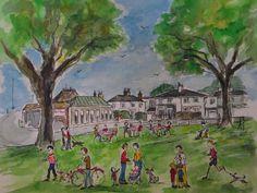 Print from watercolour, Saturday morning on Twickenham Green.  Teddington, Richmond, London.   By London-based artist, Caroline Sayer See more at: www.carolinesayer.co.uk