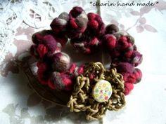 * Charin Hand made *スラブ糸のプクプクシュシュ/段染め赤系