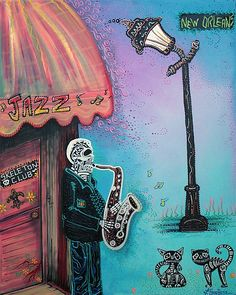"""The New Orleans Skeleton Club (Original Painting, Modern Art, Music Inspired, Louisiana)"" - Acrylics on Canvas, in Day Of The Dead Paintings"
