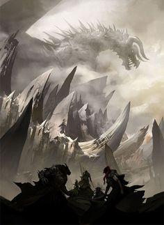 Questors Seeking the Mountain Dragon #FantasyArt #Dragon gaming games images pictures screenshots GameScapes GamingShot concept digital art VistaLore daily pics beauty imagination Fantasy