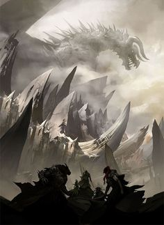 Questors Seeking the Mountain Dragon #FantasyArt #Dragon gaming games images pictures screenshots GameScapes GamingShot concept digital art VistaLore daily pics beauty imagination Fantasy