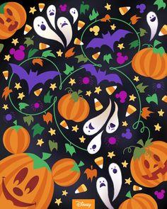 Mickey Mouse Halloween, Halloween Prints, Disney Halloween, Halloween Art, Happy Halloween, Halloween Images, Old Disney, Disney Love, Disney Stuff