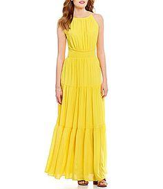 f5501a2fb2a GB Sleeveless Tiered Keyhole-Back Maxi Dress