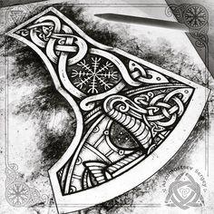 No photo description available. Rune Tattoo, Norse Tattoo, Celtic Tattoos, Tattoo Art, Viking Designs, Celtic Designs, Vikings, Badass Tattoos, Tattoos For Guys