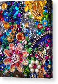 Jeweled beadwork - summer garden 1 Acrylic Print by Sofia Metal Queen Costume Jewelry Crafts, Vintage Jewelry Crafts, Button Crafts, Button Art Projects, Beads Pictures, Jewelry Tree, Diy Canvas Art, Mosaic Art, Bead Art