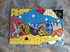 Mozaiek met tegel en glas