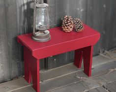 "Tall Country Stool - Hand painted stool, farmhouse step stool, 24"" x 16"" x 11"" primitive bench"