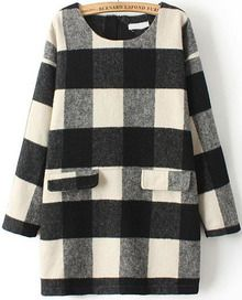 Black White Bleaching Long Sleeve Plaid Pockets Dress