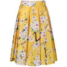 Choies Yellow Sakura Print High Waist Pleated Skater Skirt