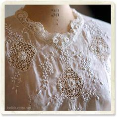 アイリッシュクロッシェ刺繍ブラウス - 【Belle Lurette】ヨーロッパ フランス アンティークレース リネン服の通販