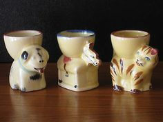 Vintage Egg Cups Ceramic Cat Dog Horse Made in Japaan 1950s Eggcups Hand Painted