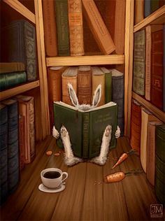 In a corner of the library . (illustration by Jimmy Moreli) I Love Books, My Books, Reading Books, Library Books, Lapin Art, Rabbit Art, Rabbit Book, Bunny Book, Bunny Art