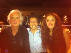 Jimmy Page with girlfriend Scarlett Sabet and friend.