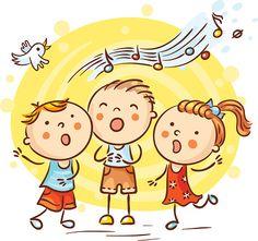 Crianças cantando músicas, colorido desenho - ilustração de arte em vetor
