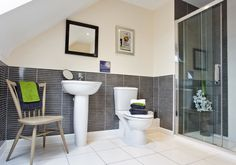 Bovis Homes - The Francis at Uplands Mill, The Uplands Biddulph Staffordshire  Interior Designed Ensuite Bathroom with Double Shower.