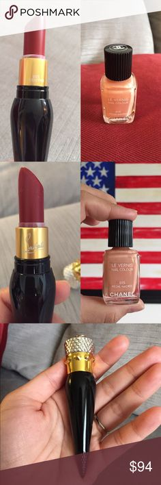 Chanel & Christian Louboutin Bundle ❤️ Both are 100% Authentic. I used the lipstick a couple of times. Color is 001 Rouge Louboutin.. classic red! I usually use a lipstick applicator when applying but you can sanitize it before using. It doesn't come with the box. The Chanel nail polish in peach nude color is gorgeous and still has 75% of nail polish in it! Pls ask if you have any questions! CHANEL Makeup Lipstick