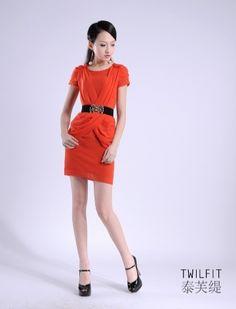 Korean chiffon ruffles Dress with Belt Orange