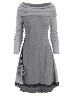 Cowl Neck Lace Up Guipure Panel Longline Knitwear Dress Outfits, Casual Dresses, Short Dresses, Fashion Dresses, Dress Long, Formal Dress, Fancy Dress, Trendy Clothes For Women, Trendy Outfits