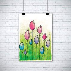 """Aquarelle originale peinture - aquarelles tulipes - 8.5x12 » jusqu'à 24 x 34"""" Art Print, décoration murale, Illustration par EnchantedCrayons sur Etsy https://www.etsy.com/ca-fr/listing/204533890/aquarelle-originale-peinture-aquarelles"""