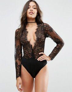 ASOS Lucy Microfibre & Delicate Lace Plunge Bodysuit $43.00