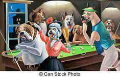 Perros jugando billar. Caricatura.