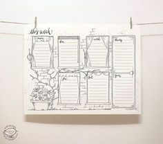 Windows in old walls covered with creepers... Here's a pretty tool to organize your weekly tasks: a perpetual weekly planner in a whimsical hand-drawn doodle style. Just print one copy for a week on your home printer, and make your notes. Printable in a single color - black, on a basic