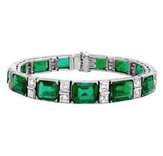 Rare & Vintage Emerald and Diamond Bracelet, by Ruser, circa 1950 via FD GALLERY