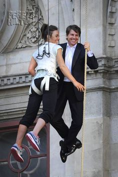 tom cruise and rebecca ferguson are hanging in there on the set of mi 5
