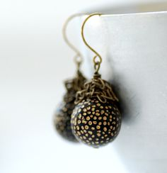 Statement Earrings, Black and Gold Earrings, Funky Earrings. Dotted Earrings, Vintage Lucite and Brass - Night Sky