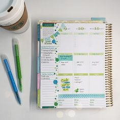"""""""My week is filling up! Adapted to the green layout in the @erincondren planner by pairing it with blue for this week, debating what to pair it with next…"""""""