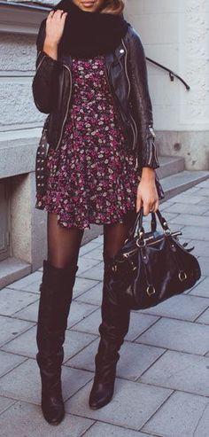 #fall #fashion / vestido de flores de cuero +