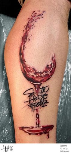wine glass with paw print inside tattoo - Google Search
