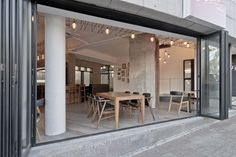 Slide Images, Folding Doors, Facade Design, Cafe Interior, Oversized Mirror, Coffee Shops, Living Room, Furniture, Home Decor