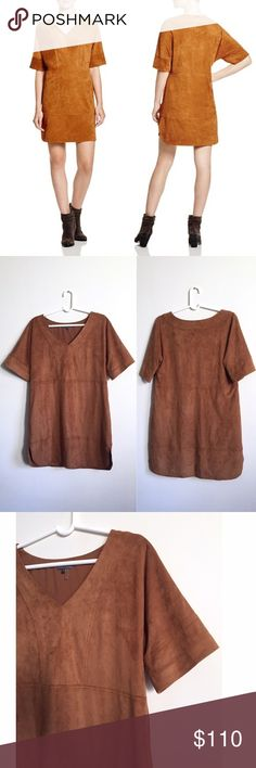 BF SALE! Vince Camuto Faux Suede Dress VINCE CAMUTO's sartorial salute to the southwest takes shape with this faux-suede stunner, an exclusive-to-Bloomingdale's style. Boasting a rich, rust hue and a texture that begs to be touched, this wear-forever shift takes the urbane approach to daytime dressing.  V-neck, short sleeves, paneled construction Side slits at hem, pullover style Polyester/spandex Lined Inside Machine wash Imported Web ID: 1448084  Amazing condition. Fits slightly oversized…
