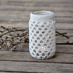 Upcycle your jars into beautiful tea light holders, vases, pencil/tool/cutlery holders with basic crochet stitches.