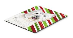 Westie Candy Cane Holiday Christmas Mouse Pad, Hot Pad or Trivet