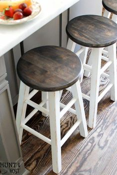 Cheap to chic bar stool makeover. See how quick and easy you can transform proje… Cheap to chic bar stool makeover. See how quick and easy you can transform projects with a paint sprayer and tent. Cheap Bar Stools, Diy Bar Stools, White Bar Stools, Diy Stool, Wooden Bar Stools, White Stool, Farm House Bar Stools, Colored Bar Stools, Bar Stools Farmhouse
