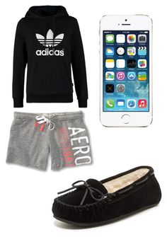 """Sleepwear?"" by zendaya-superstar ❤ liked on Polyvore featuring adidas Originals, Minnetonka and Aéropostale"