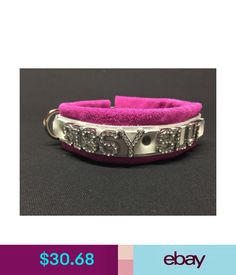 SISSY leather collar with pink fuschia suede can customize color and//or word
