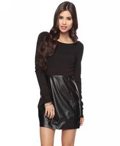 Leatherette Skirt Dress.