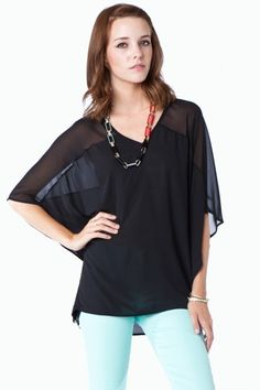 Saticoy Blouse in Black / ShopSosie #blouse #tops #sheer #black #loose #basics #shopsosie