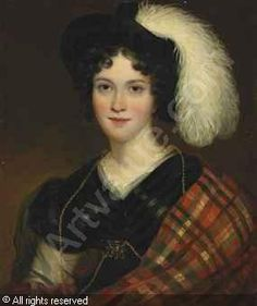 RAEBURN Henry, 1756-1823 (United Kingdom)  Portrait of a lady, half-length, in a plumed hat and a tartan shawl