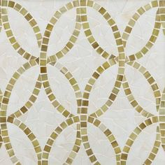 ANN SACKS Chrysalis interlace glass mosaic in off white and sage green