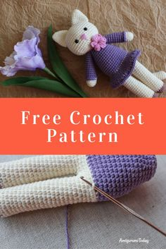 This charming amigurumi kitty in a cute lilac dress and a floral necklace will look vivacious as your child's arm candy! Gato Crochet, Crochet Cat Pattern, Crochet Bunny, Crochet Patterns Amigurumi, Crochet Dolls, Free Pattern, Knitted Dolls, Quick Crochet, Diy Crochet