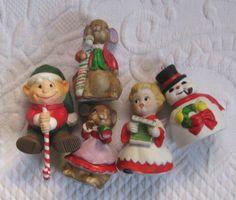 xmas figurines . retro figurines . snowman figurine . angel figurine . mouse figurine . lot of 5 . elf figurine by vintagous on Etsy