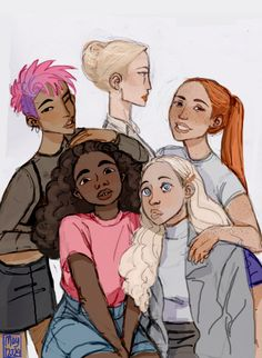 Harry Potter Girls- Tonks (Top Left), Fleur (Top Middle), Ginny(Top Right) Hermione(Bottom Left), Luna (Bottom Right)